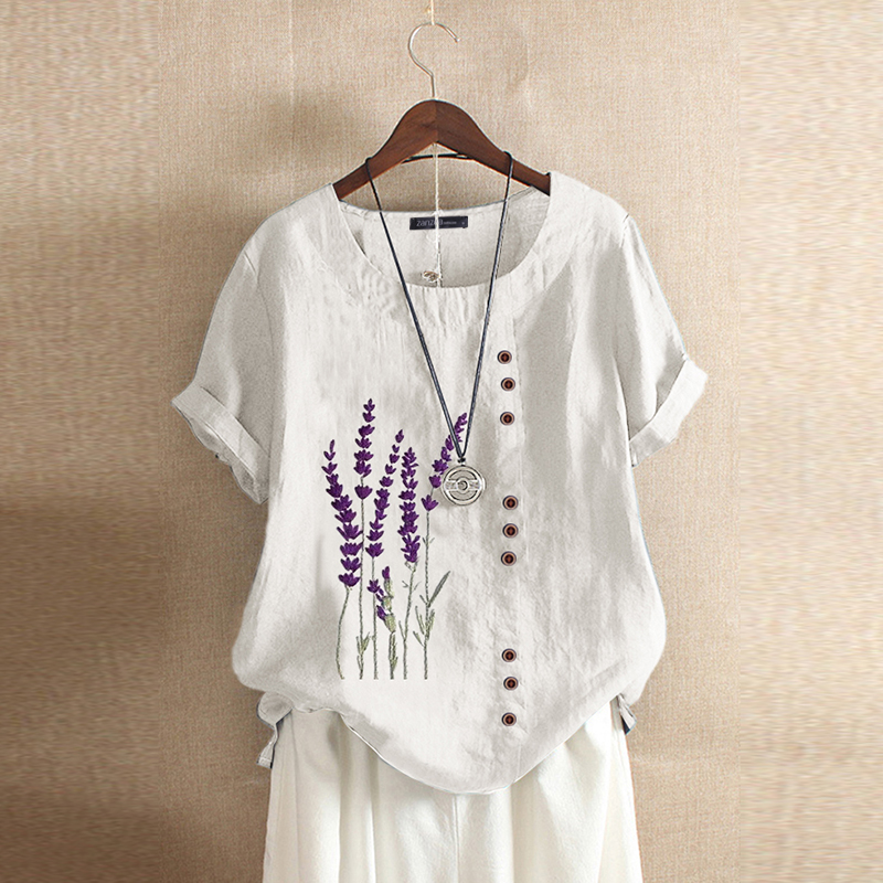 Women-Summer-Short-Sleeve-Casual-Tee-Shirt-Top-Floral-Embroidered-Blouse-T-Shirt thumbnail 13