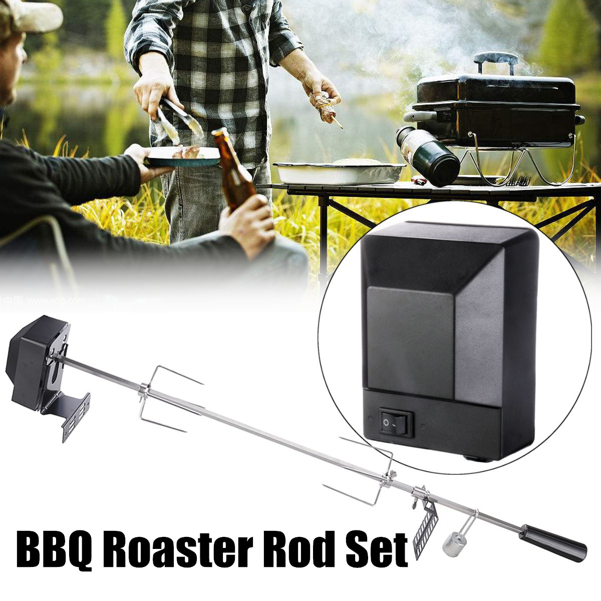 70Kgs Stainless Steel BBQ Motor Pig Lambs Grill Bearing Barbecue Spit Rotisserie