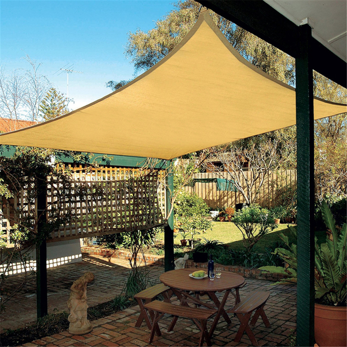 Beige Top Sun Canopy Shade Shelter Sail Net Outdoor Garden