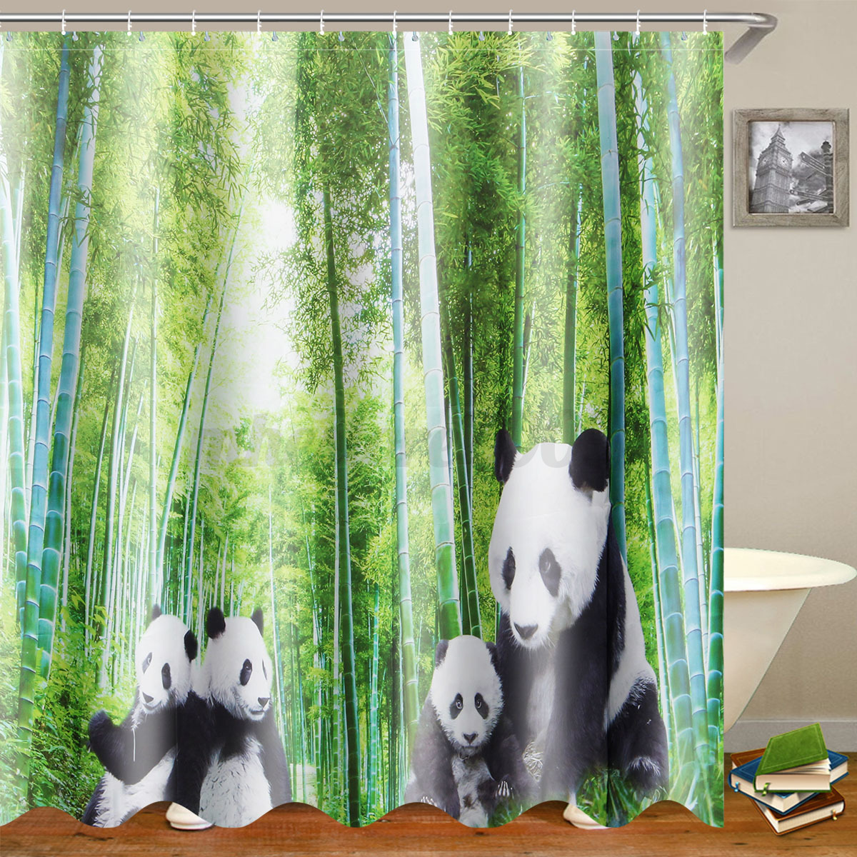 4Pcs-Panda-Bamboo-Decor-Non-Slip-Rug-Toilet-Lid-Cover-Bath-Mat-Shower thumbnail 8