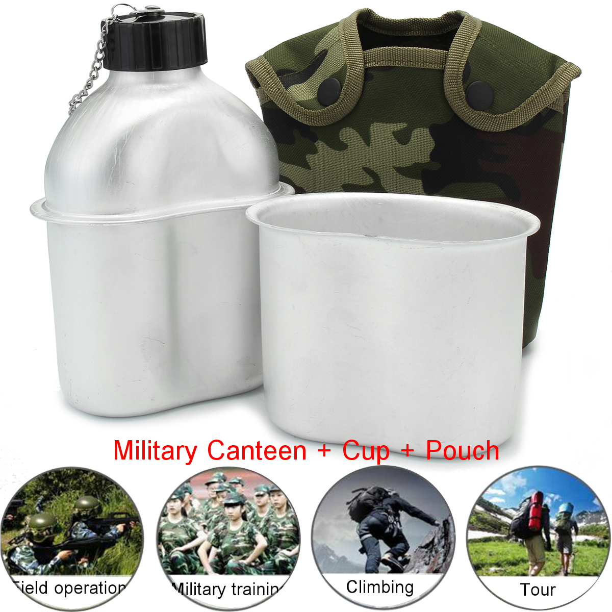 Outdoor Military Army Aluminum Stainless Steel Canteen Cup Bottle With Cover