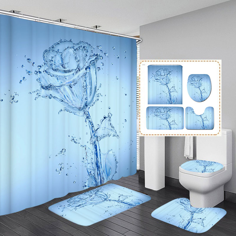 Water Flower Waterproof 3D Print Bathroom Shower Curtain Toilet Seat Cover Mat