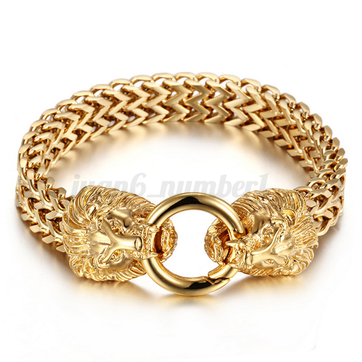 Stainless Steel Lion Heads Franco Cuban Chain Silver & Gold Men\'s ...