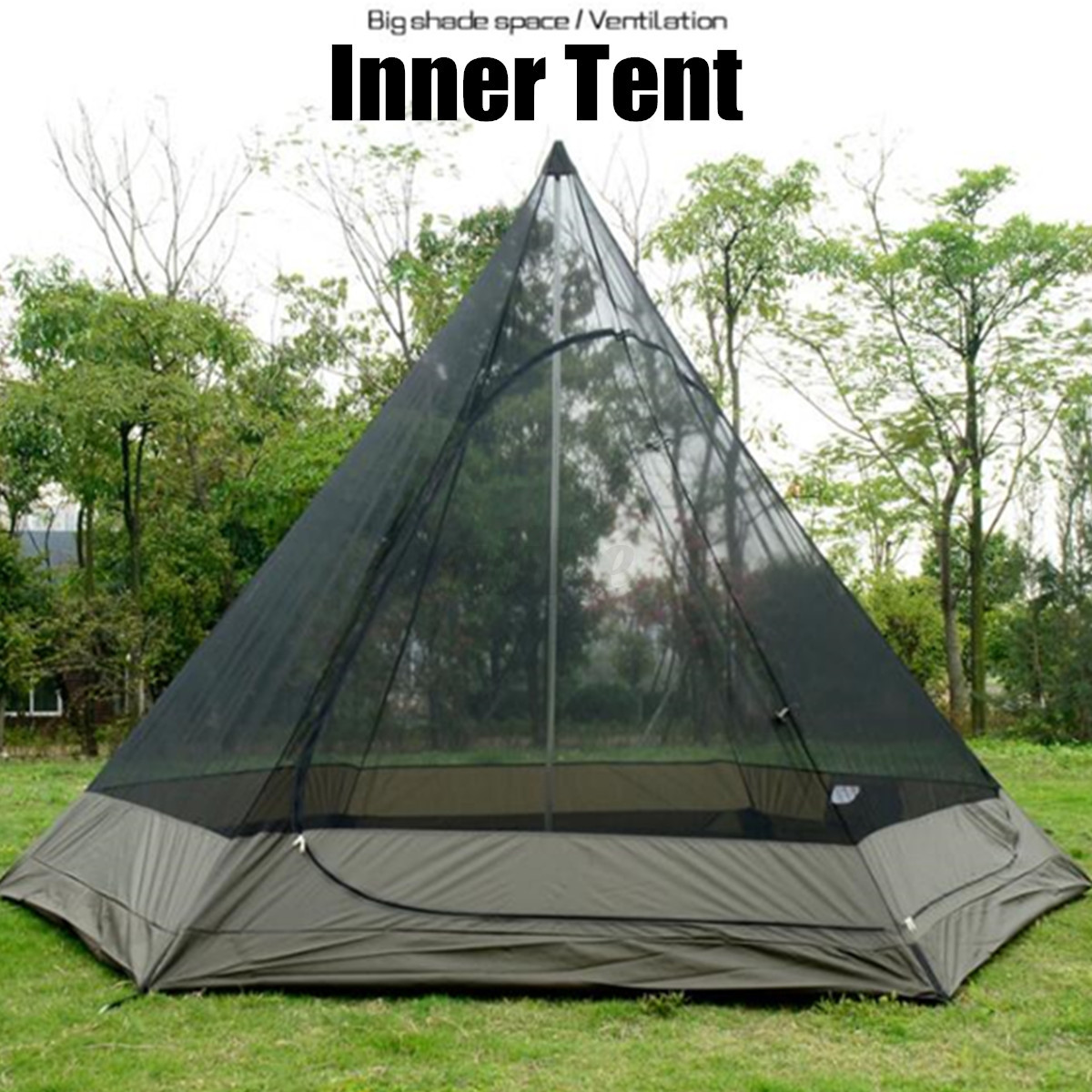 380-330-240CM-Large-Waterproof-Double-Layer-Family-Tent-Teepee-Camping-Outdoor thumbnail 9