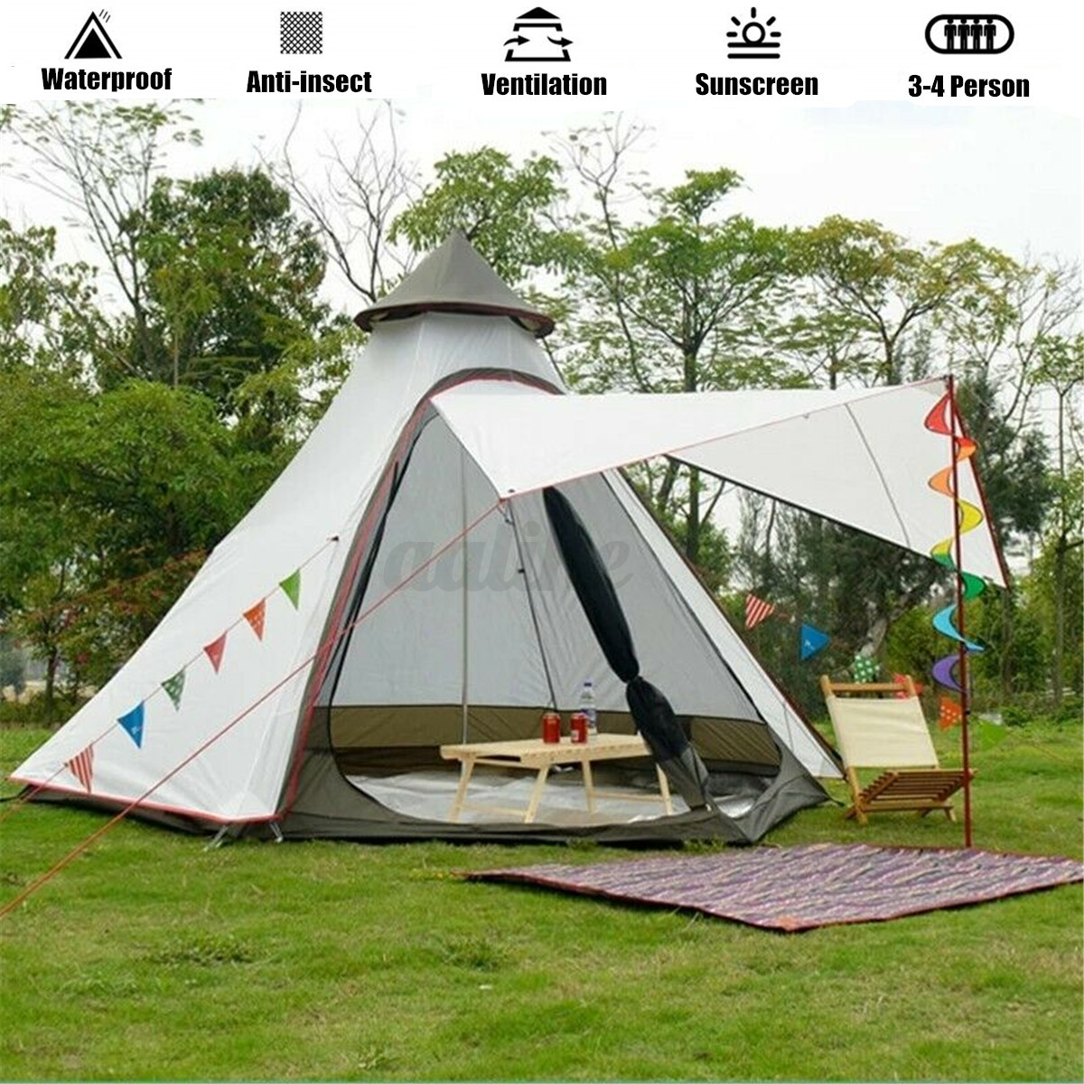 380-330-240CM-Large-Waterproof-Double-Layer-Family-Tent-Teepee-Camping-Outdoor thumbnail 2
