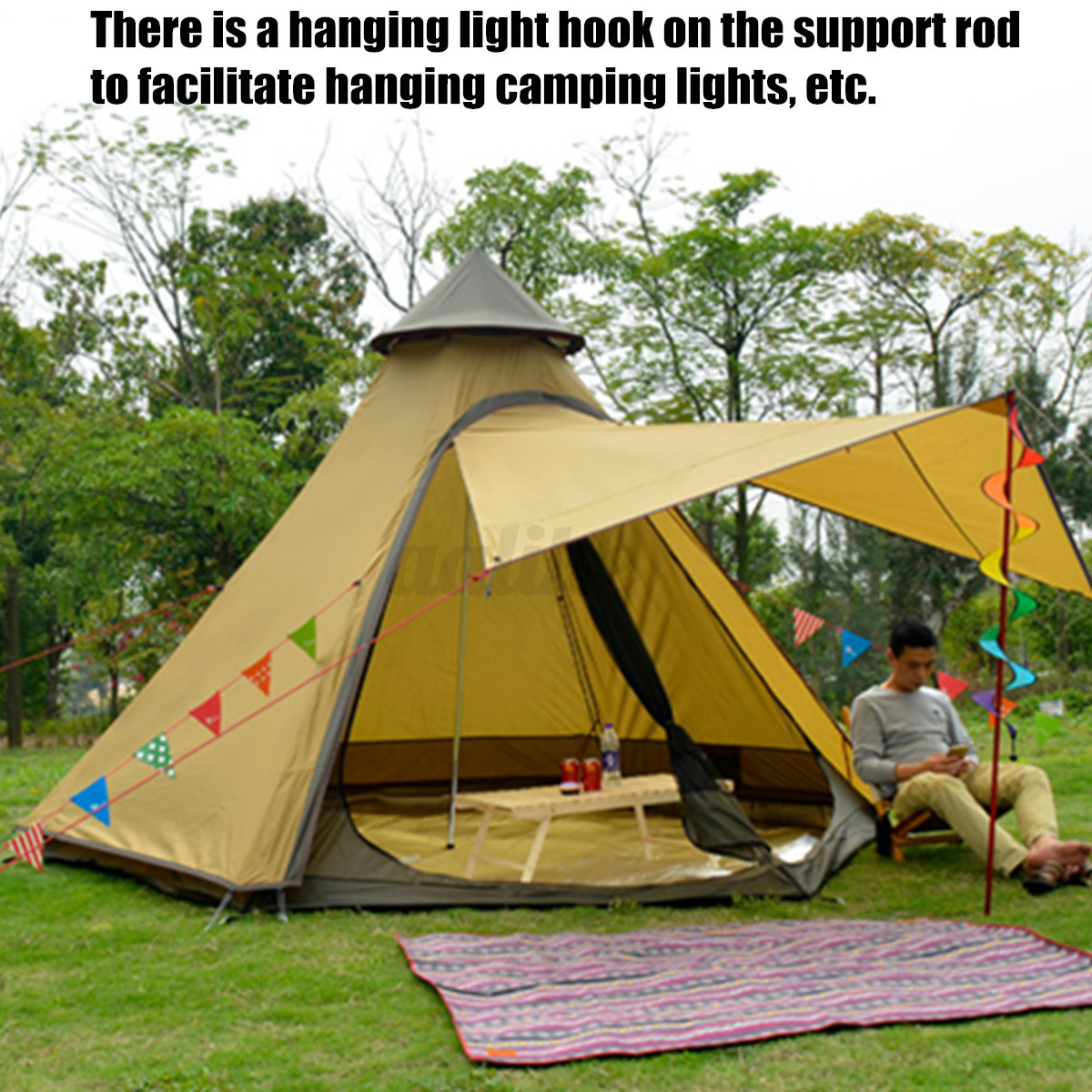 380-330-240CM-Large-Waterproof-Double-Layer-Family-Tent-Teepee-Camping-Outdoor thumbnail 4
