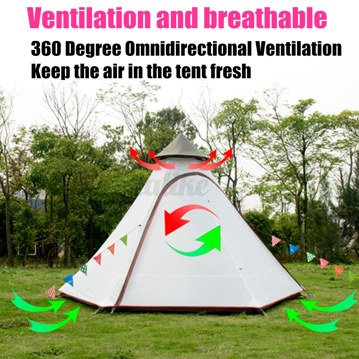 380-330-240CM-Large-Waterproof-Double-Layer-Family-Tent-Teepee-Camping-Outdoor thumbnail 3