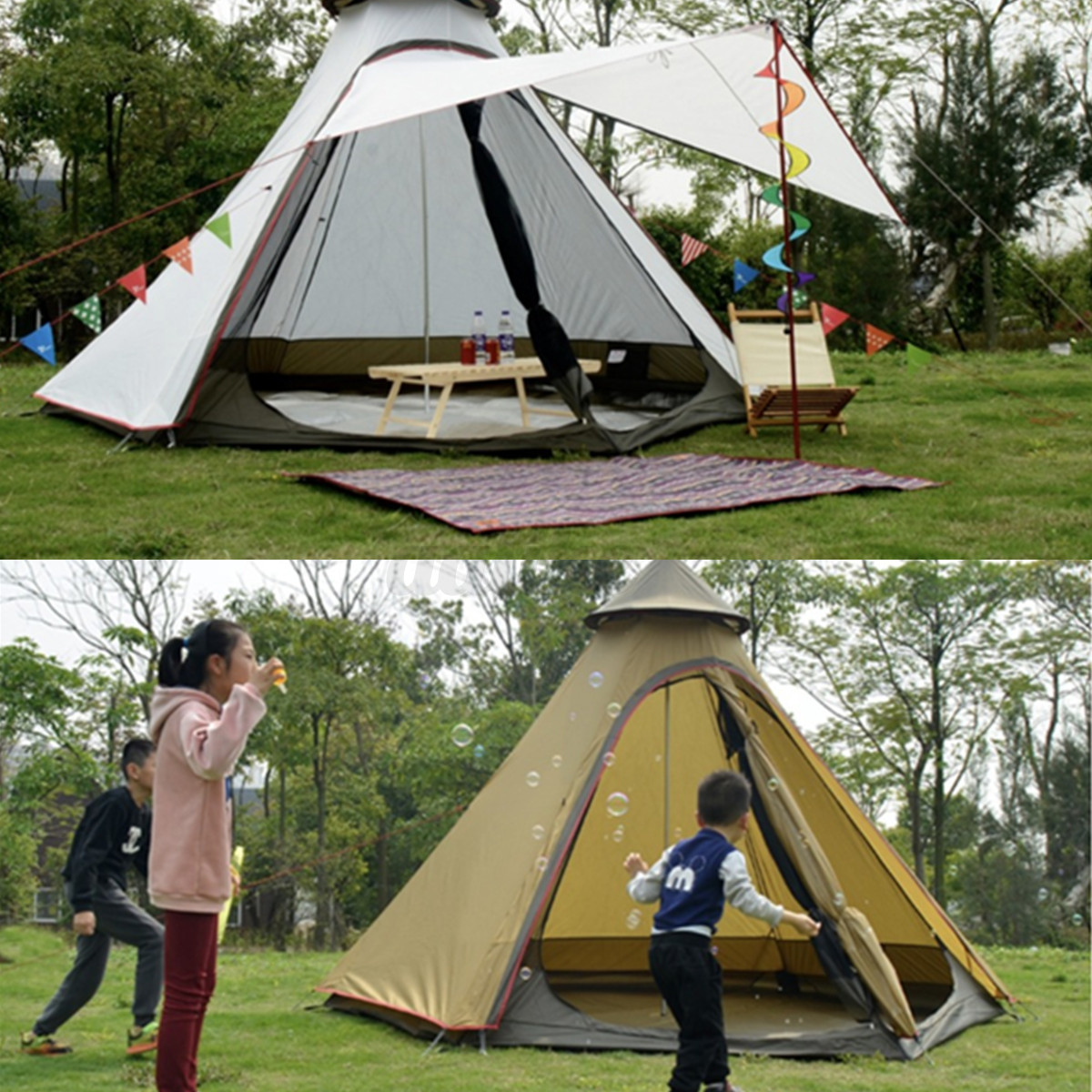 380-330-240CM-Large-Waterproof-Double-Layer-Family-Tent-Teepee-Camping-Outdoor thumbnail 8