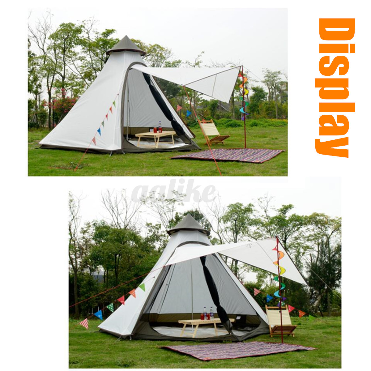 380-330-240CM-Large-Waterproof-Double-Layer-Family-Tent-Teepee-Camping-Outdoor thumbnail 7