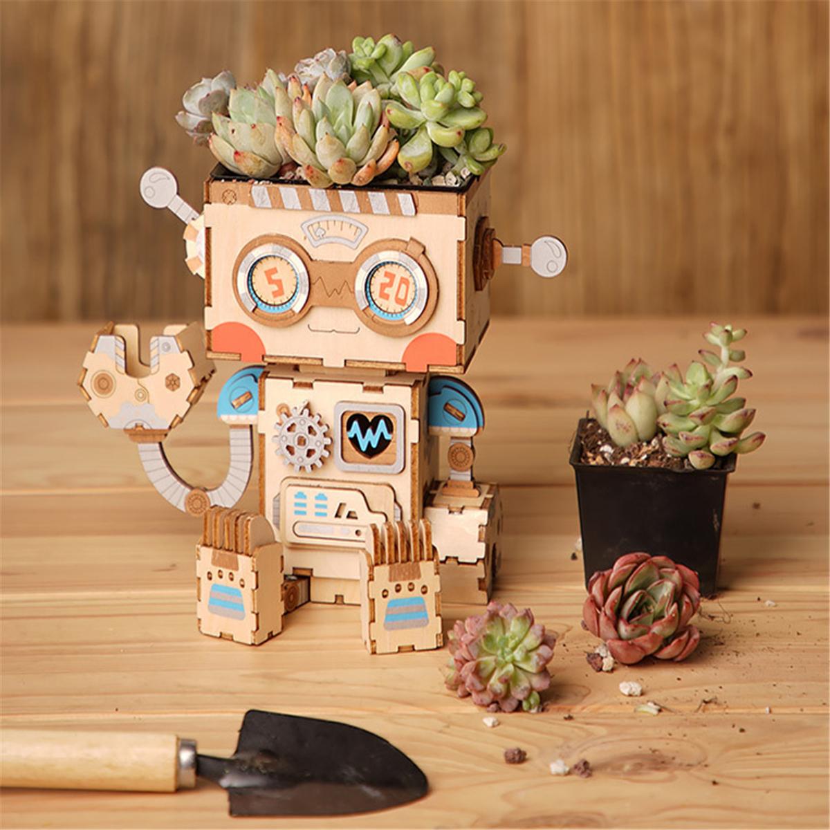 3D-DIY-Wooden-Puzzle-Flower-Pots-Animals-Model-Building-Kits-Toy-Gift-Kids-UK thumbnail 4