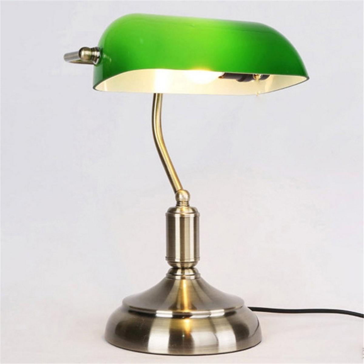 Vintage Bankers Lamp Antique Brass Desk Table