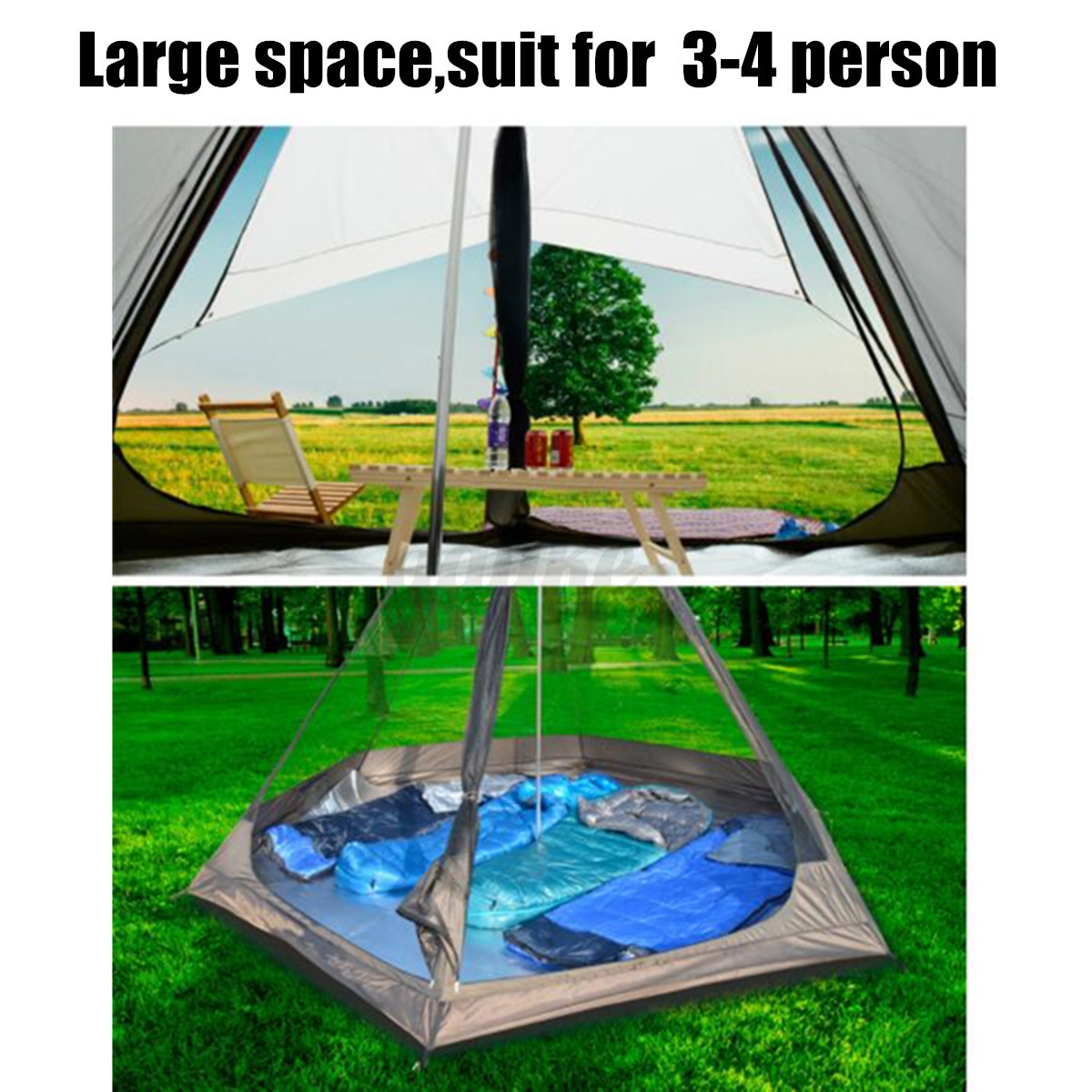 380-330-240CM-Large-Waterproof-Double-Layer-Family-Tent-Teepee-Camping-Outdoor thumbnail 10