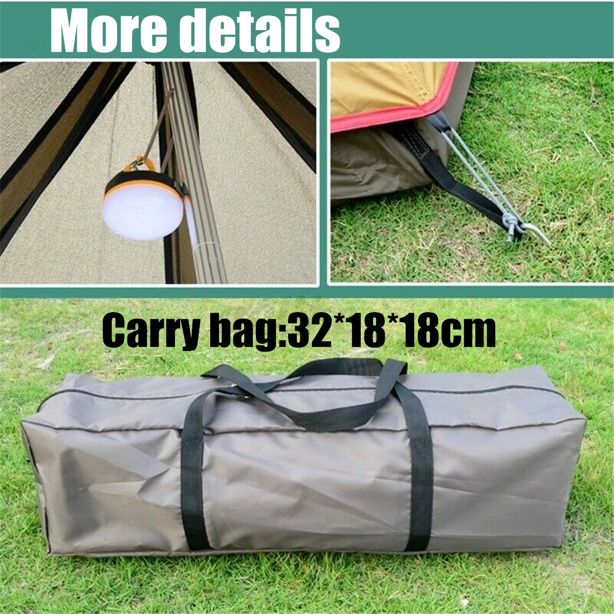 380-330-240CM-Large-Waterproof-Double-Layer-Family-Tent-Teepee-Camping-Outdoor thumbnail 12