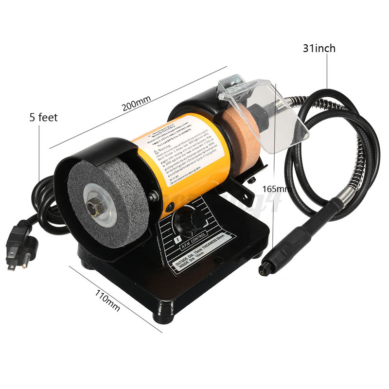 3 39 39 Mini Bench Grinder Rotary Grinder Polisher Tool With Flexible Shaft 10 000 Ebay