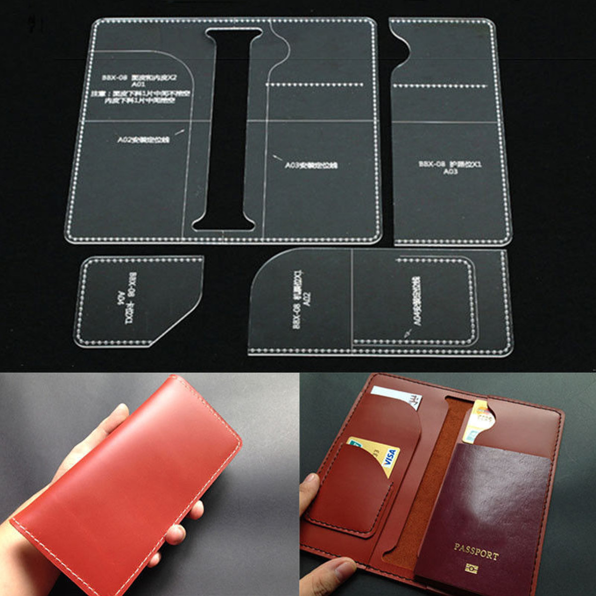 Leather Craft Clear Acrylic LONG Wallet Bag Mould Pattern Stencil ...