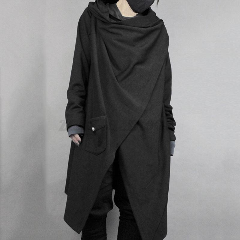 Gothic-Fashion-Men-039-s-Loose-Jacket-Long-Punk-Long-Cape-Tops-Loose-Fit-Jacket-Tops thumbnail 2