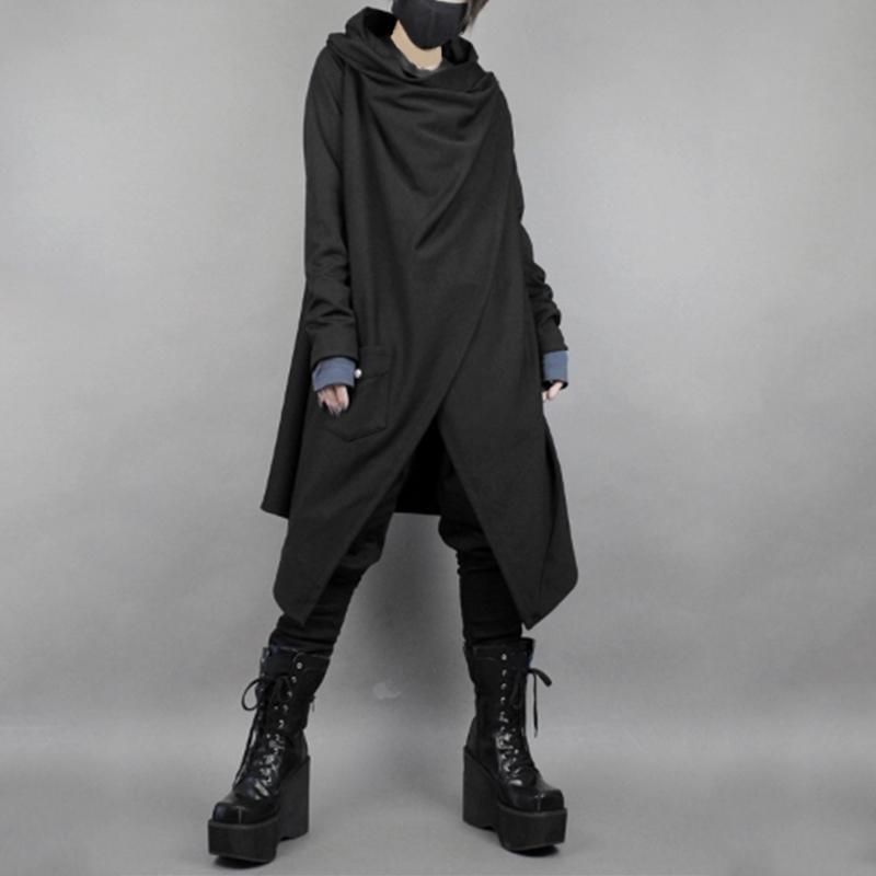 Mens-Gothic-Punk-Coat-Jacket-Black-Cape-Cloak-Hooded-Cardigan-Long-Shirt-Outwear thumbnail 11