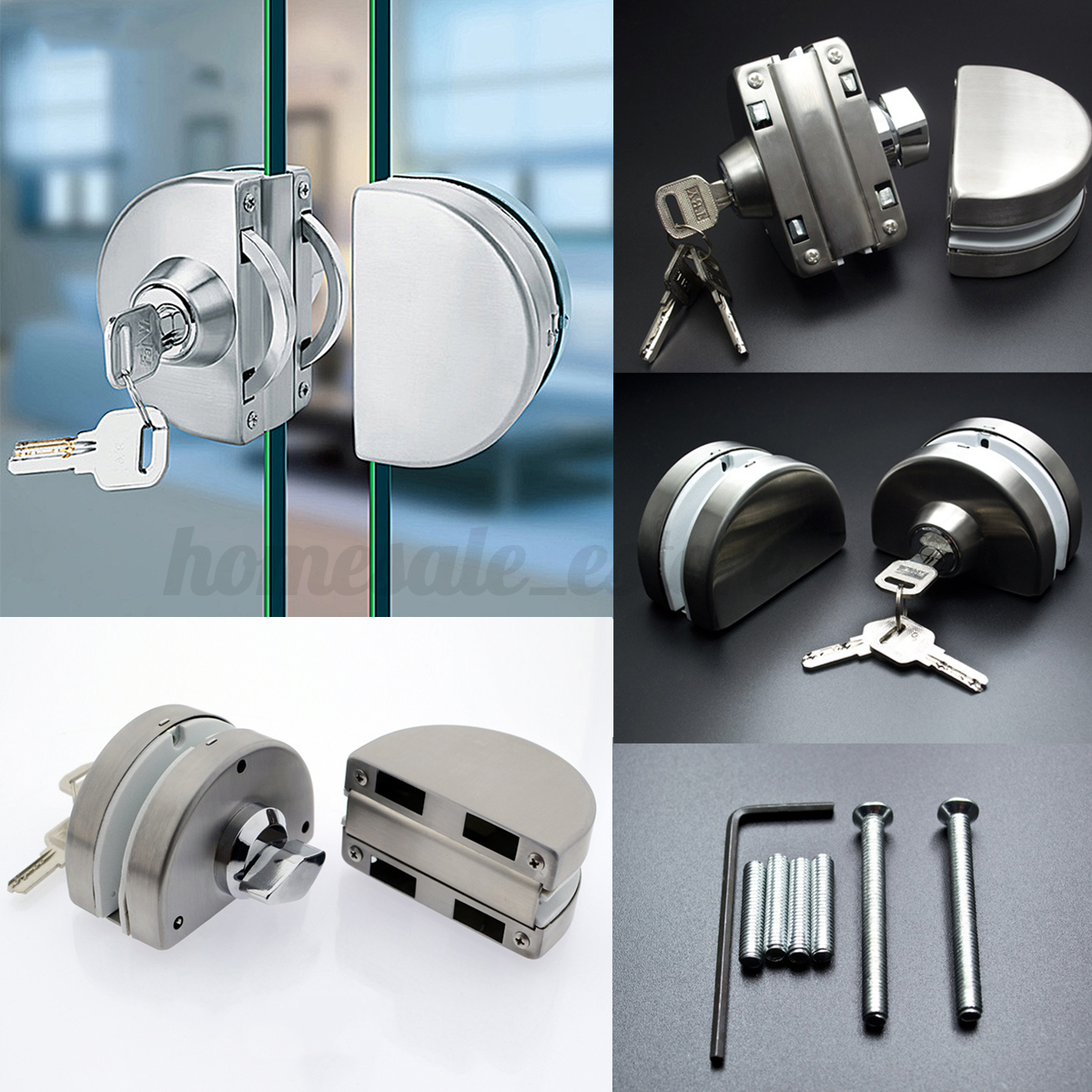 Mm glass door lock stainless steel double bolts