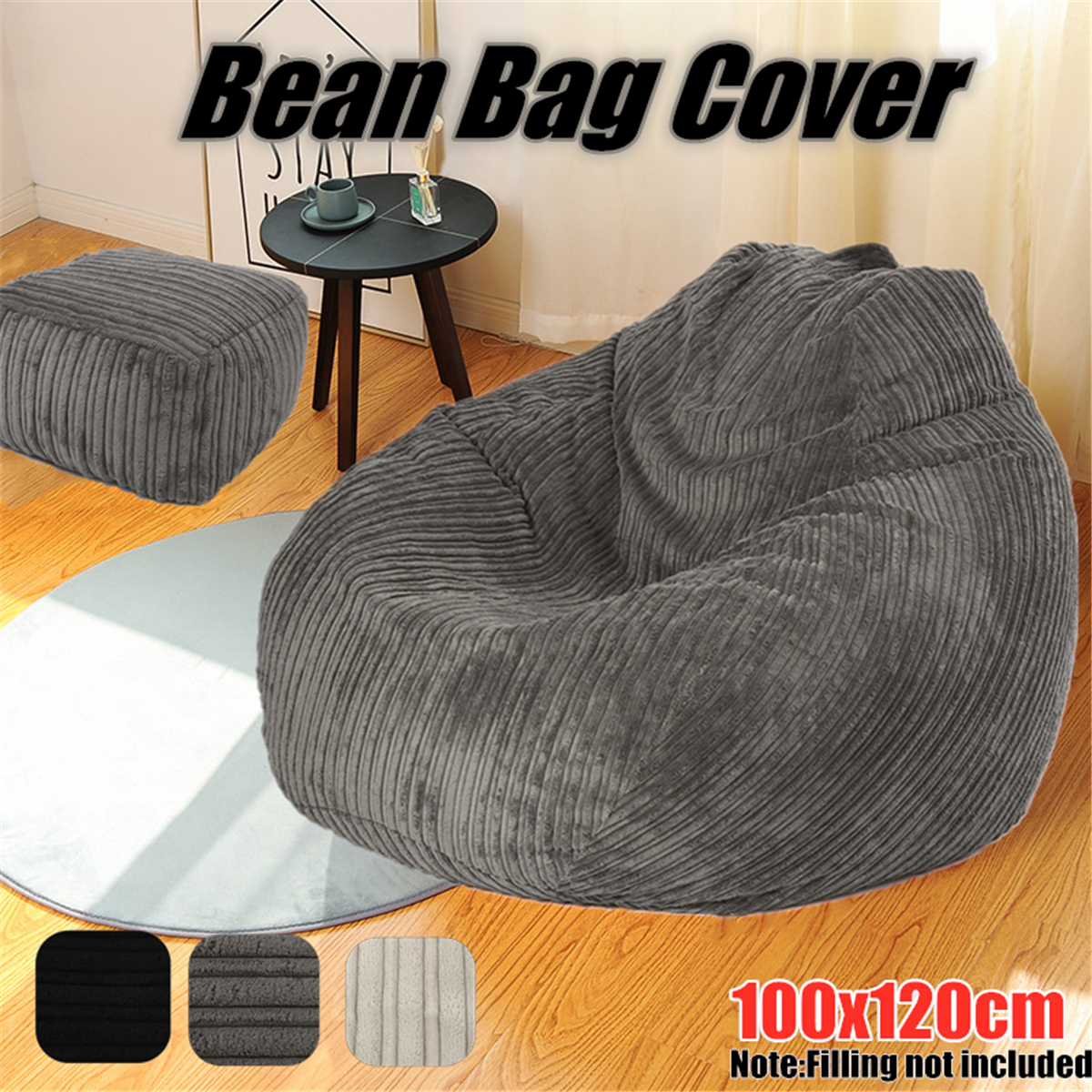 Cool Details About Large Bean Bag Chairs Couch Corduroy Sofa Cover Indoor Lazy Seat Adult Beanbag Theyellowbook Wood Chair Design Ideas Theyellowbookinfo