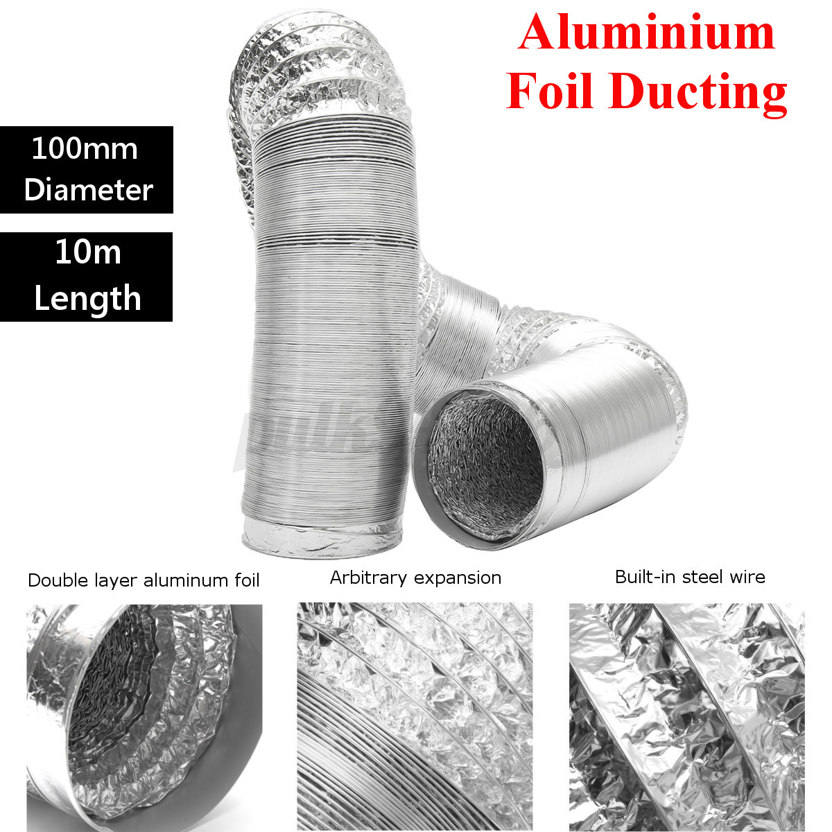 Ventilation Ducts Information : M mm aluminum foil ducting fan pipe flexible cool