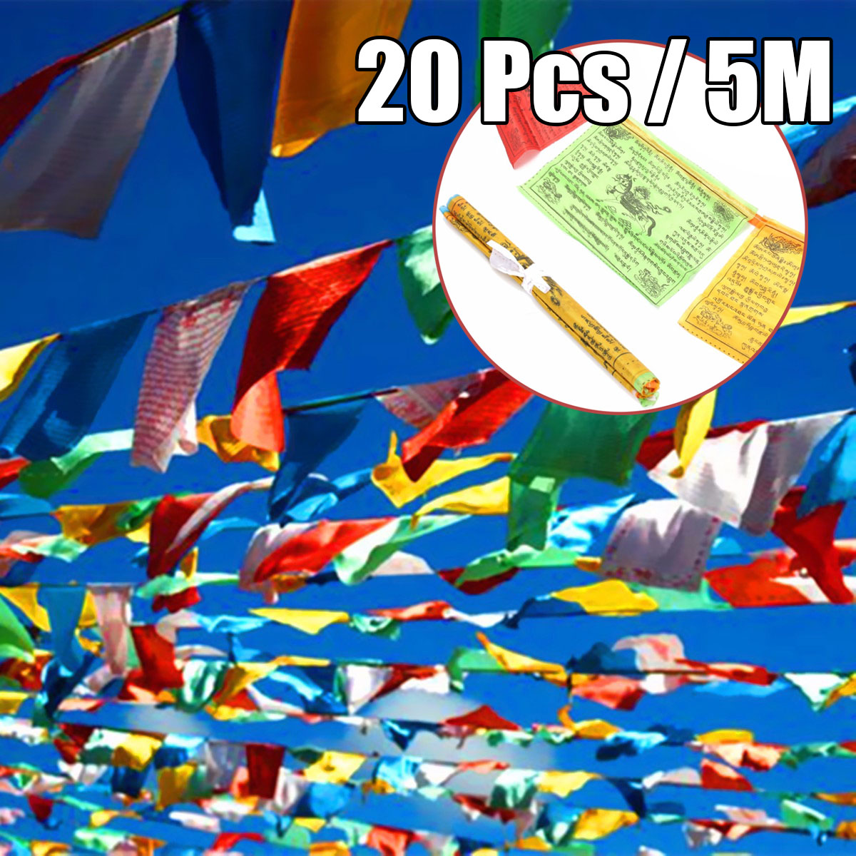 Details about Tibetan Buddhist Prayer Flag Contain 20 Flags 5 Meter  Scriptures Wind Horse Wall