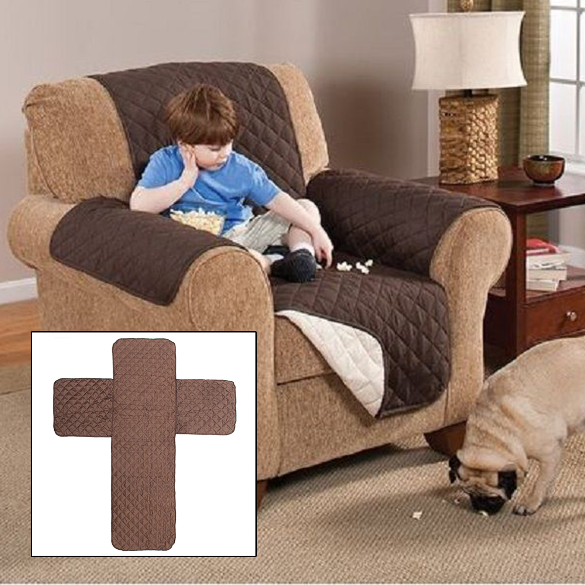 3SZIE QUILTED SOFA COVER CHAIR THROW PET DOG
