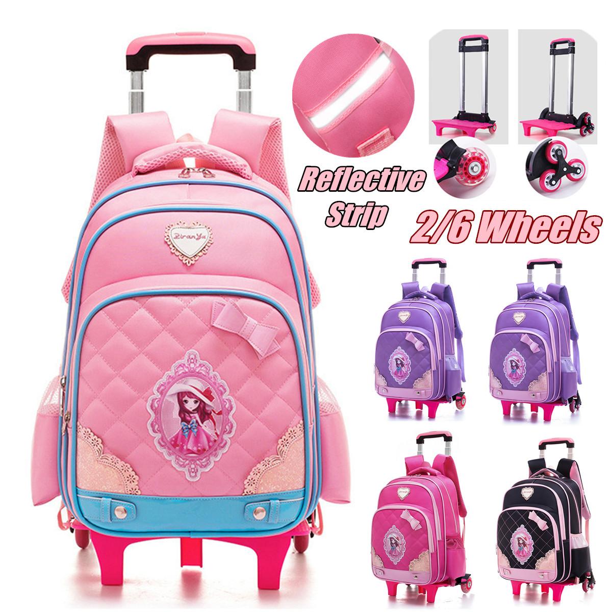 Boys Kids 2//6 Wheels Trolley School Bag Backpack Travel Luggage Rucksack BookBag