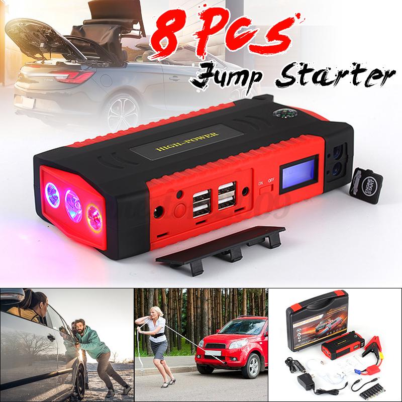... POWER SUPPLY JUMP STARTER WITH LED LIGHTING CHARGING RED SIZEEU PLUGCOLORRED INTL. 68800mAh-82800mAh-Car-Jump-Starter-4-USB-Emergency-