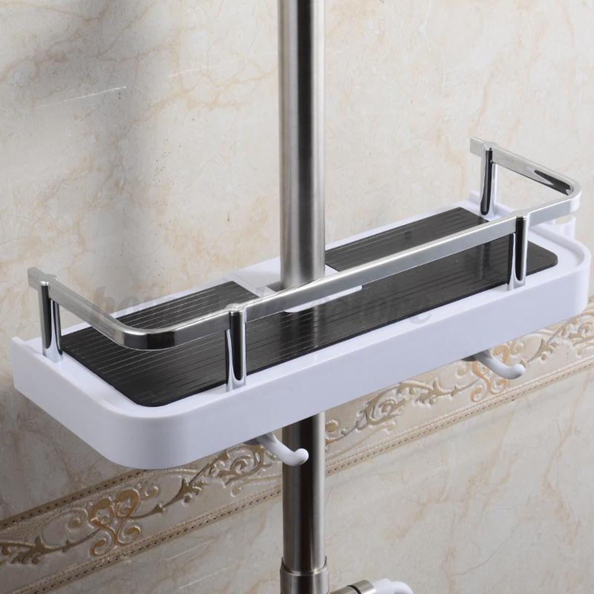 bathroom pole shelf shower storage caddy organiser tray soap bidet rack holder ebay. Black Bedroom Furniture Sets. Home Design Ideas