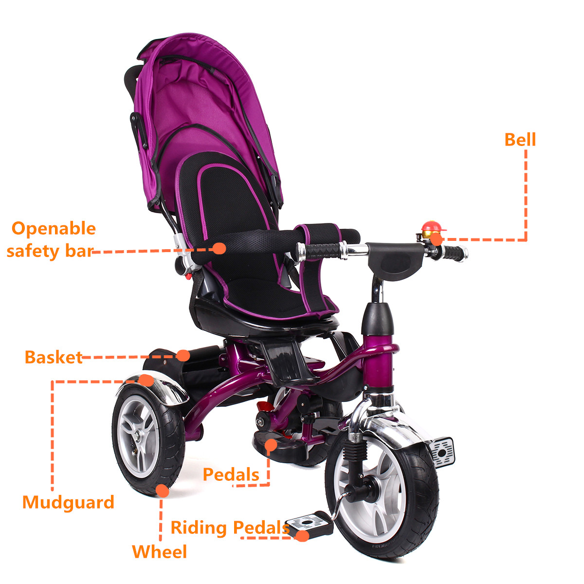 4 In 1 Baby Kids Reverse Toddler Tricycle Bike Trike Ride-On Toys Stroller Prams