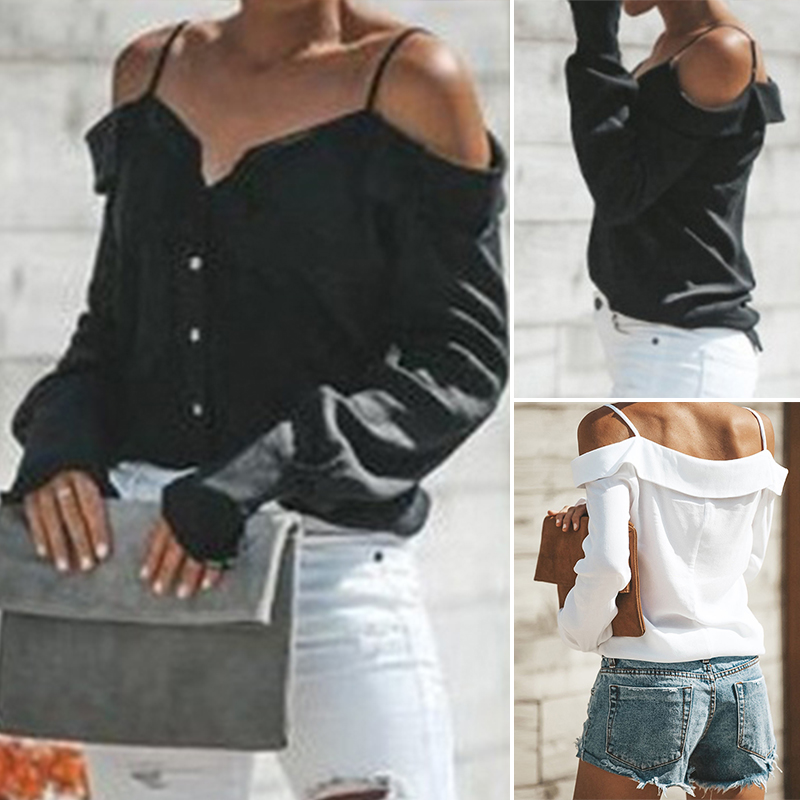 Women-Strappy-Cold-Shoulder-Top-Tee-T-Shirt-Ruffle-Loose-Beach-Club-Party-Blouse thumbnail 3