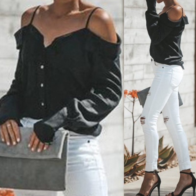 Women-Strappy-Cold-Shoulder-Top-Tee-T-Shirt-Ruffle-Loose-Beach-Club-Party-Blouse thumbnail 4