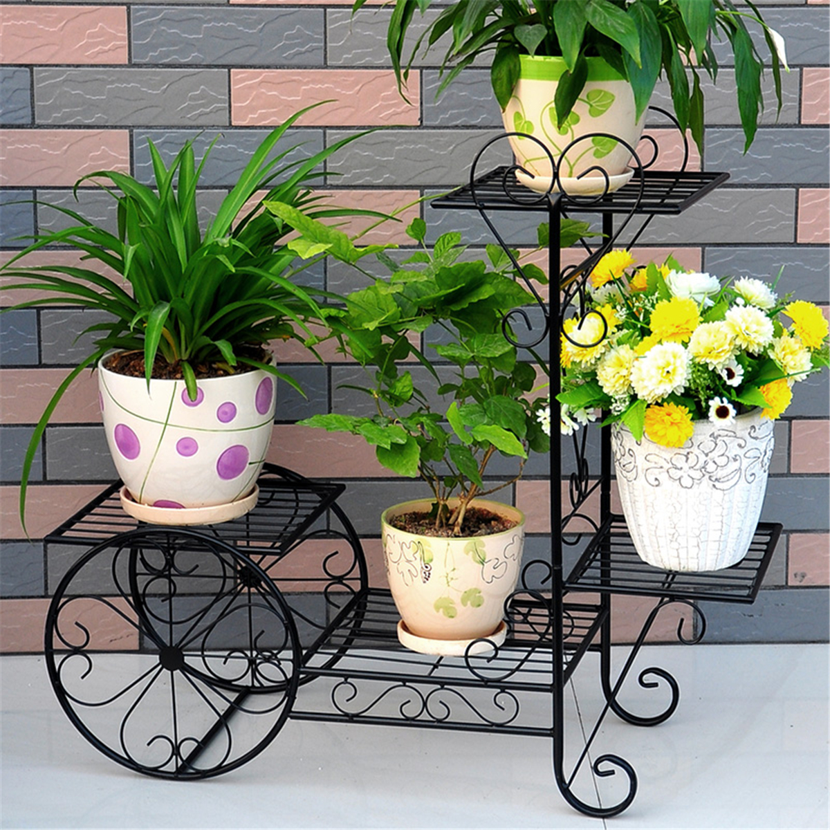 Outdoor Planter Stand Iron bicycle plant pot garden flower display indoor outdoor planter iron bicycle plant pot garden flower display indoor workwithnaturefo