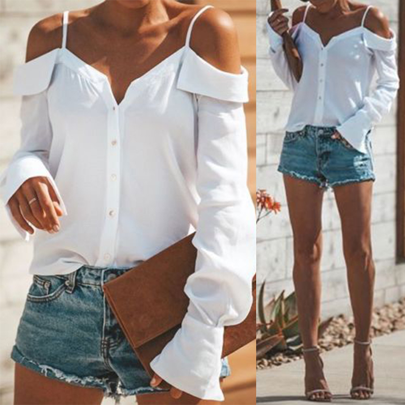 Women-Strappy-Cold-Shoulder-Top-Tee-T-Shirt-Ruffle-Loose-Beach-Club-Party-Blouse thumbnail 5