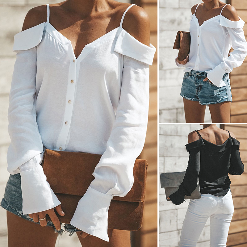 Women-Strappy-Cold-Shoulder-Top-Tee-T-Shirt-Ruffle-Loose-Beach-Club-Party-Blouse thumbnail 2