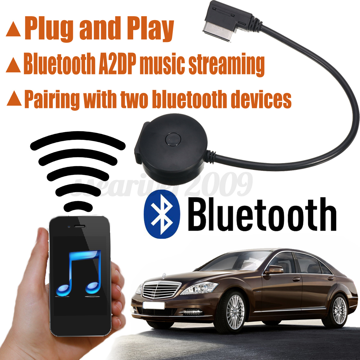 interface wireless bluetooth adapter usb music aux cable. Black Bedroom Furniture Sets. Home Design Ideas
