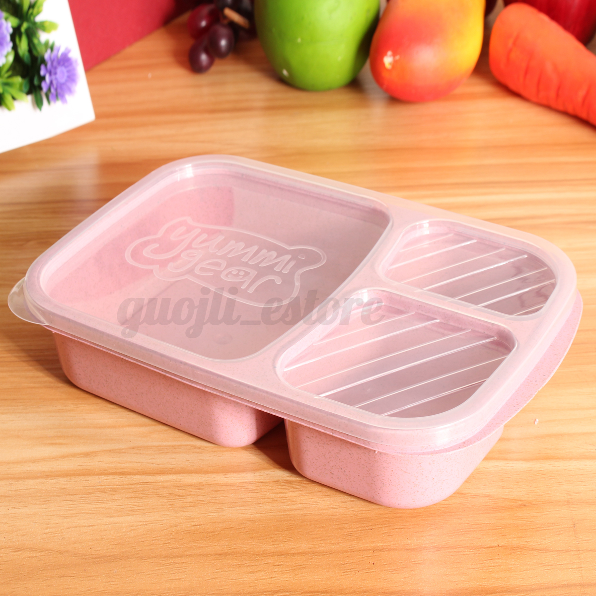 wheat 3 compartment lunch bento box picnic food storage microwave container 2017 ebay. Black Bedroom Furniture Sets. Home Design Ideas