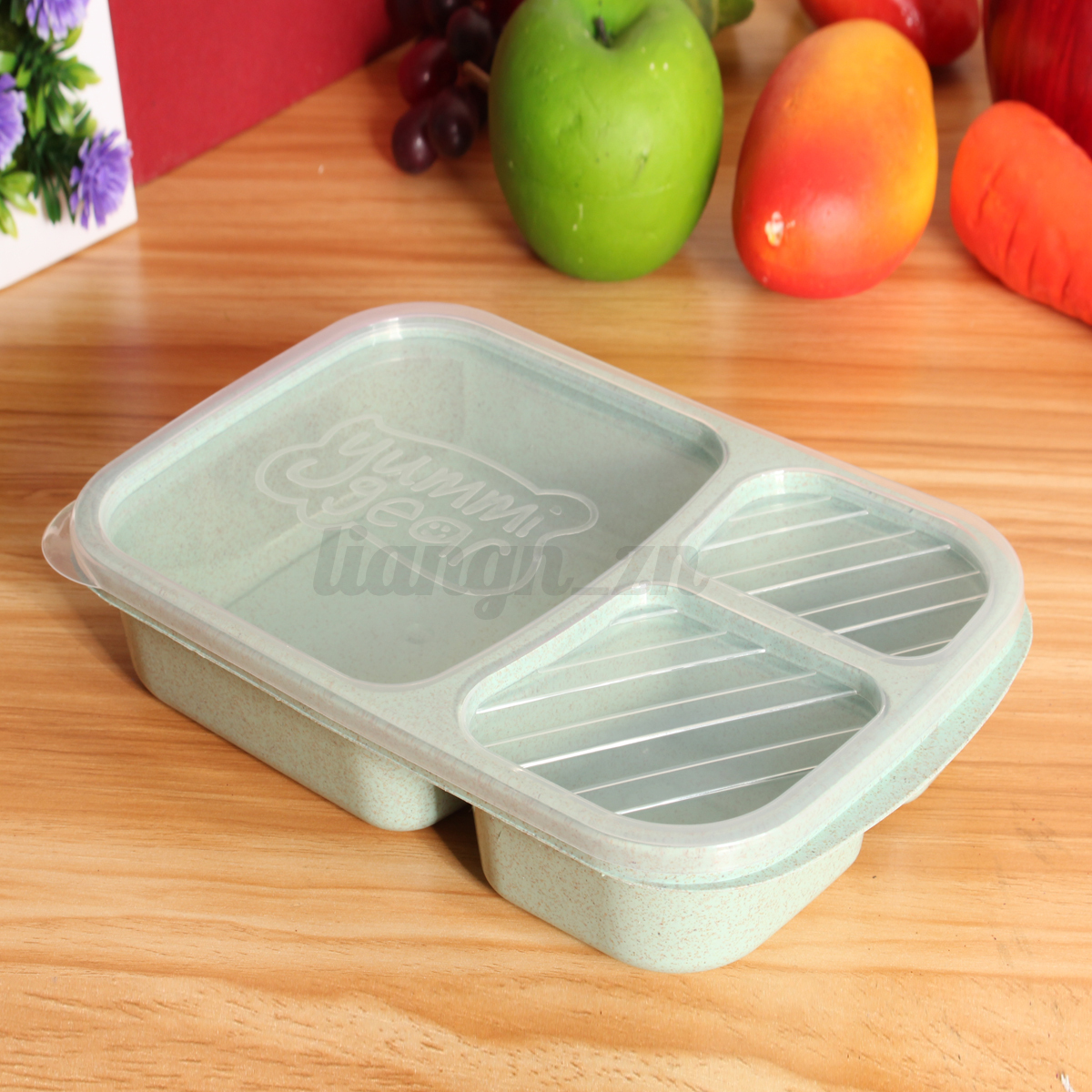 3 compartiments bo te repas go ter d jeuner bento lunch box isotherme cuill re ebay. Black Bedroom Furniture Sets. Home Design Ideas