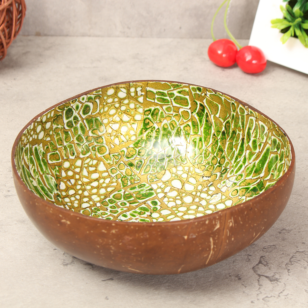 Natural coconut shell bowl dishes handmade paint colorful for Handmade kitchen decoration