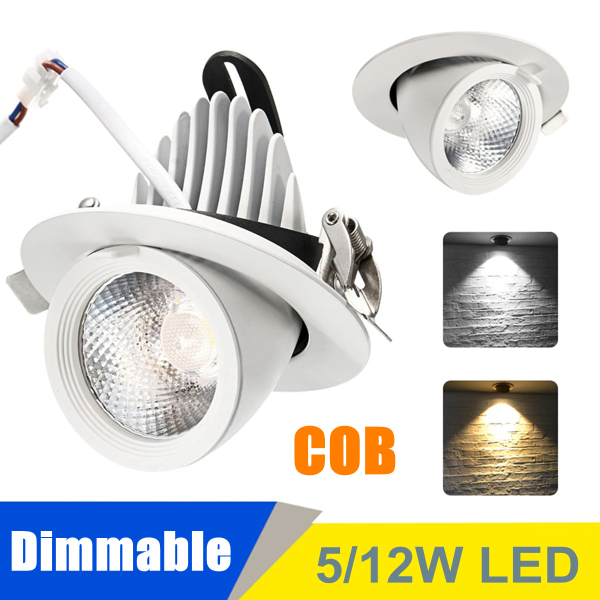 Details About Dimmable Led Cob Ceiling Lamp 5w 12w Adjustable Spotlight Lights Mount Fixture