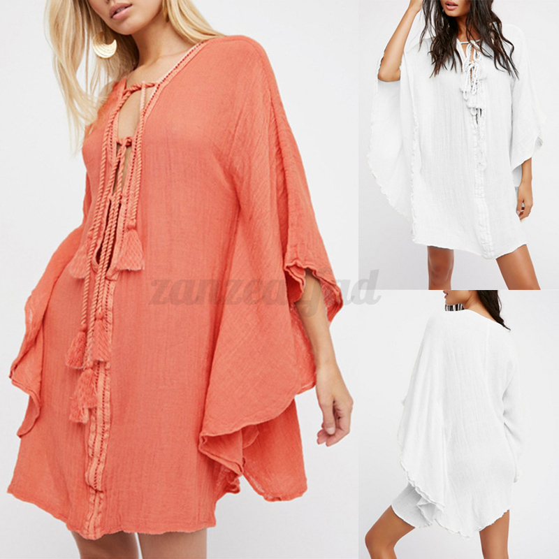 S-5XL Celmia Damen Sommer Casual Lose Batwing Lace Up Party Tunika ...