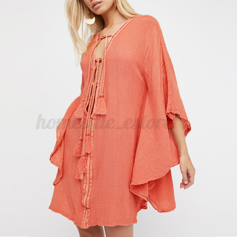 Plus S-5XL Womens Summer Lace up Bating Sleeve Beach Swim Loose Short Mini Dress