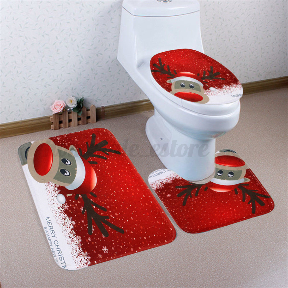 3Pcs Set Christmas Snowman Santa Toilet Seat Cover