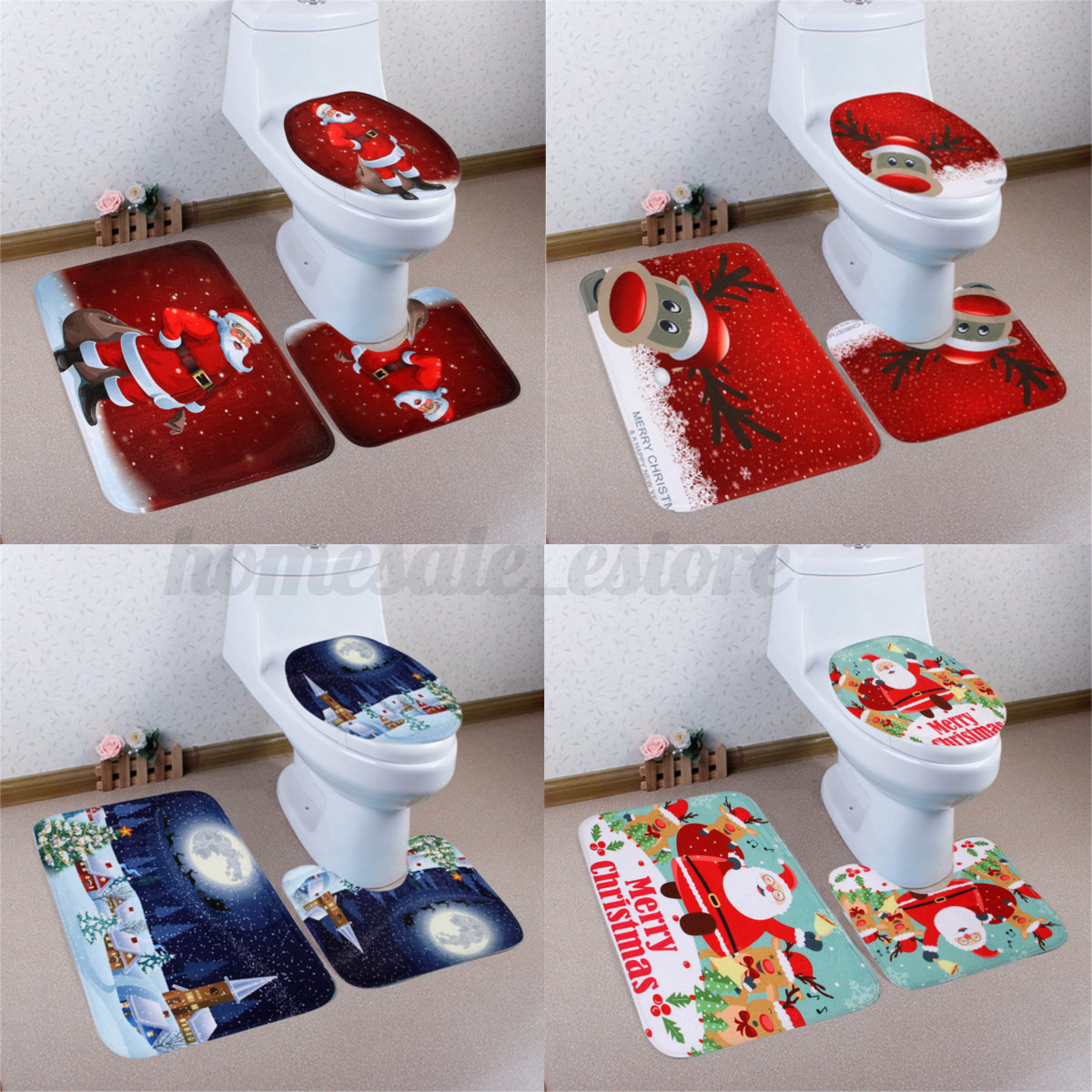 3Pcs Set Christmas Snowman Santa Toilet Seat Cover Rug Bathroom