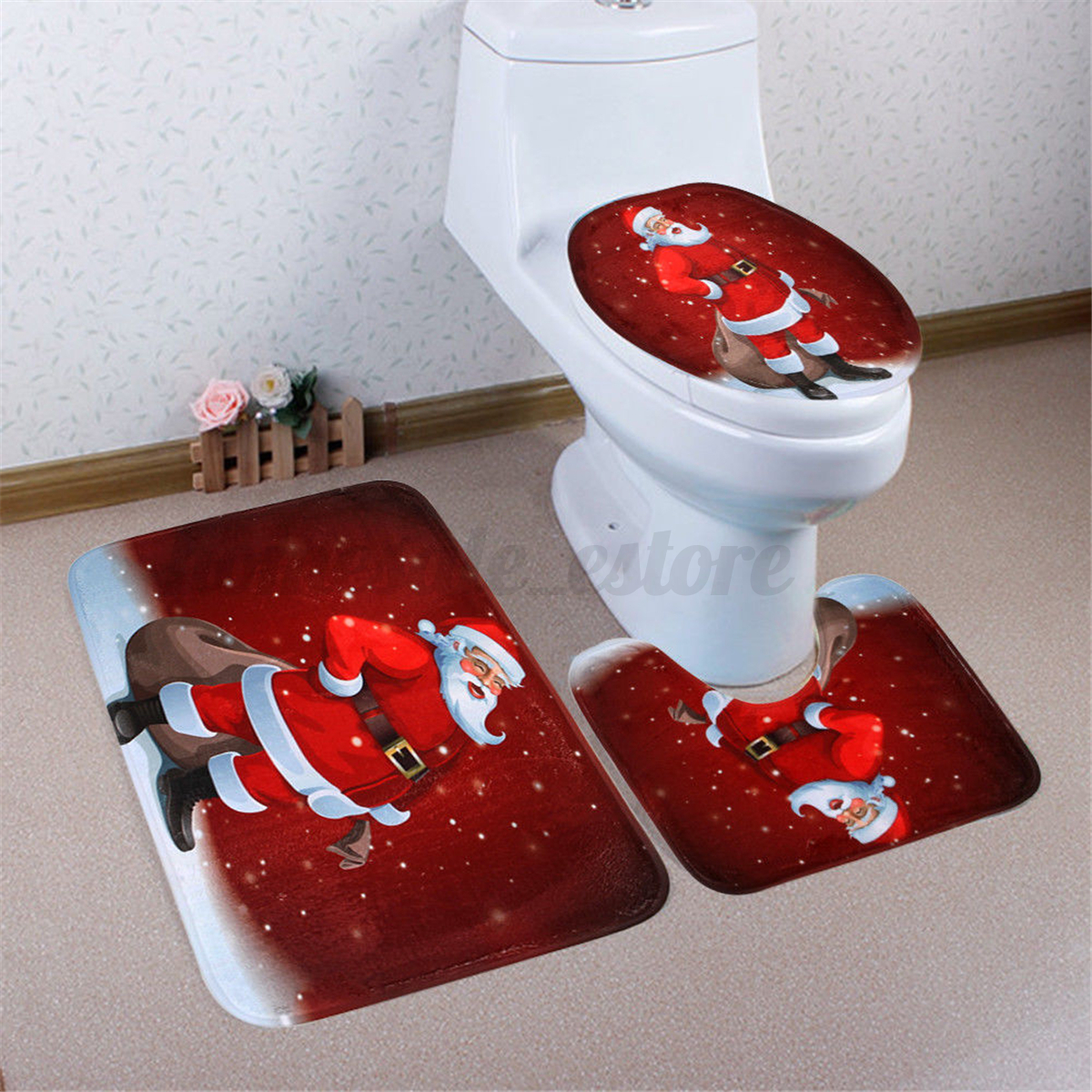 3Pcs Set Christmas Snowman Santa Toilet Seat Cover Rug Bathroom Mat Xmas Decor