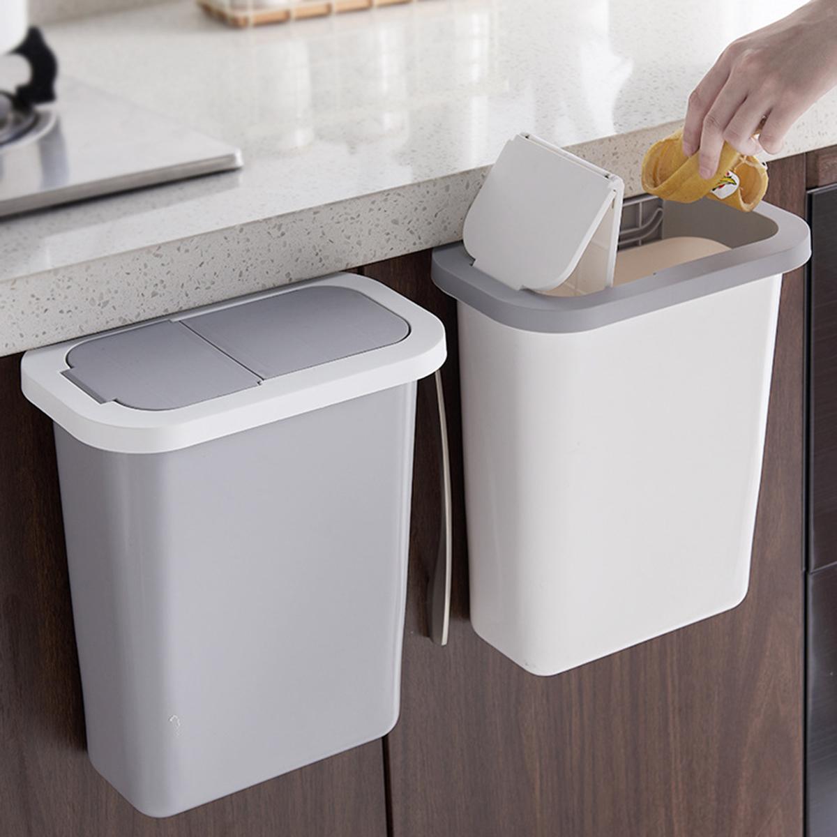 Home Wall Mounted Folding Waste Bin Kitchen Door Bin Can Rubbish Container Box