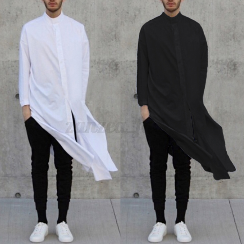Fashion-Men-039-s-Asymmetric-Longline-T-shirt-Tee-Long-Sleeve-Tops-Formal-Shirt-Tops