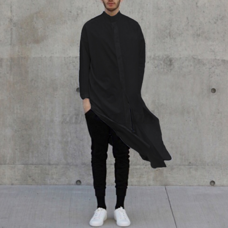 Fashion-Men-039-s-Asymmetric-Longline-T-shirt-Tee-Long-Sleeve-Tops-Formal-Shirt-Tops thumbnail 4