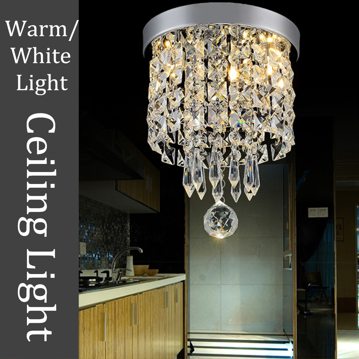 Elegant Chandelier Crystal Lamp Light Ceiling Flush Mount Fixture Home Decor
