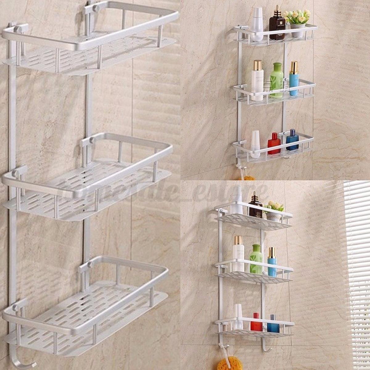 Bathroom Pole Shelf Shower Storage Caddy Organiser Tray Soap Bidet ...